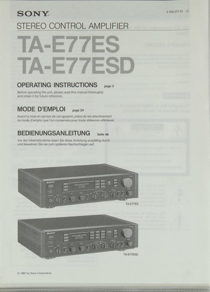 Sony TA-E77ES / TA-E77ESD Bedienungsanleitung