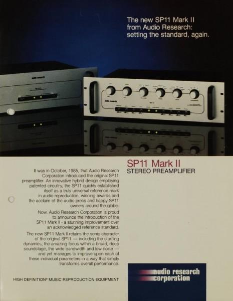 Audio Research Corporation SP 11 Mark II Prospekt / Katalog