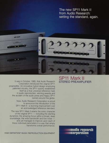 Audio Research SP 11 Mark II Prospekt / Katalog