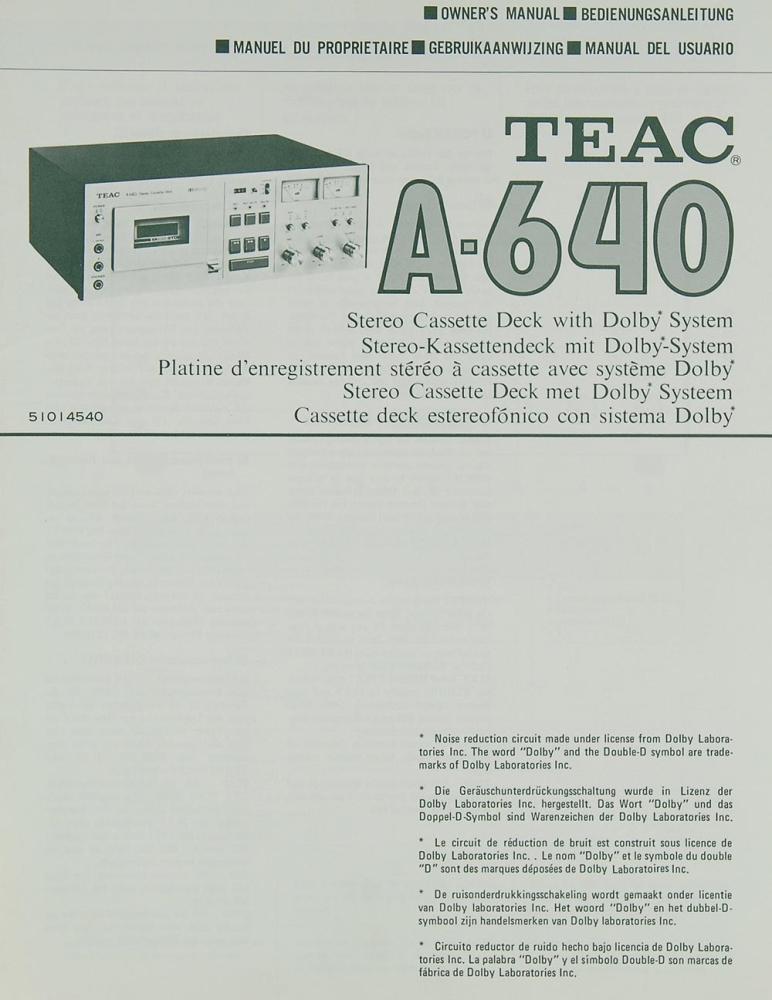 Teac A 640 Bedienungsanleitung Tapedecks Teac