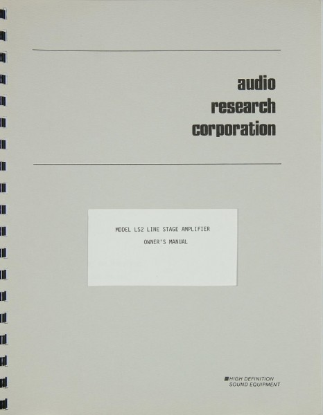 Audio Research LS 2 Bedienungsanleitung