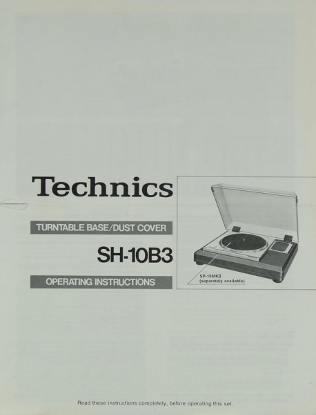 Technics SH-10 B 3 Bedienungsanleitung