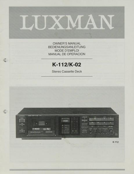 Luxman K-112 / K-02 Bedienungsanleitung
