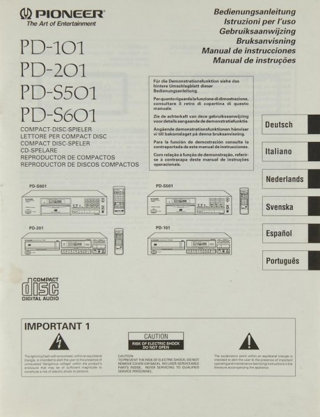 Pioneer PD-101 / 201 / S 501 / S 601 Bedienungsanleitung