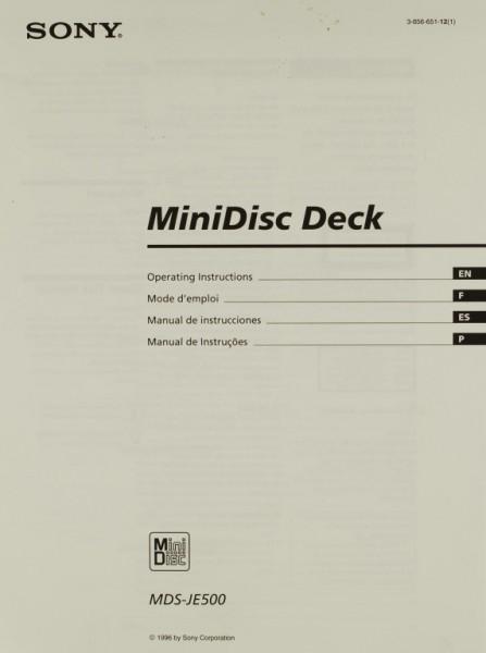 Sony Mds Je 500 Manual Md Recorders Sony Manuals Hifi