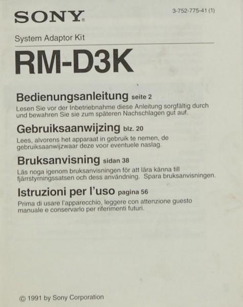Sony RM-D 3 K Bedienungsanleitung