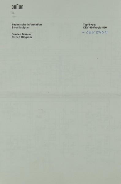 Braun CEV 550 / regie 550 Schaltplan / Serviceunterlagen