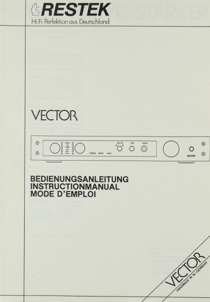 Restek Vector Bedienungsanleitung