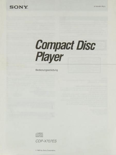 Sony CDP-X 707 ES Bedienungsanleitung
