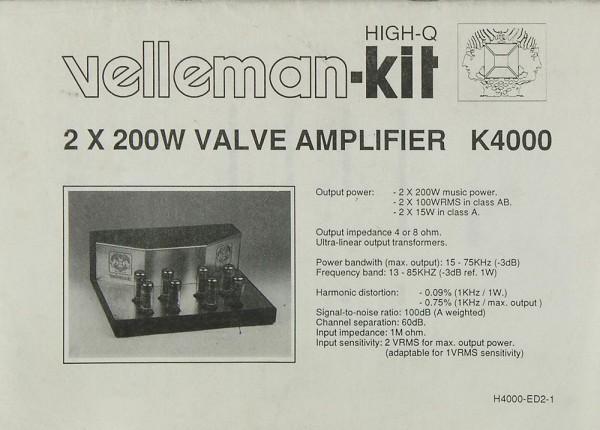 Velleman-Kit K 4000 Bedienungsanleitung