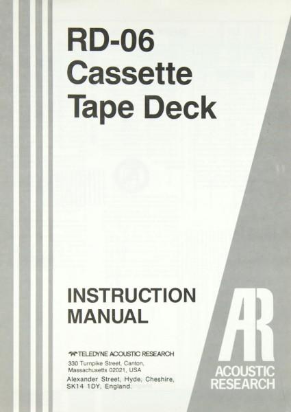 Acoustic Research RD-06 Bedienungsanleitung