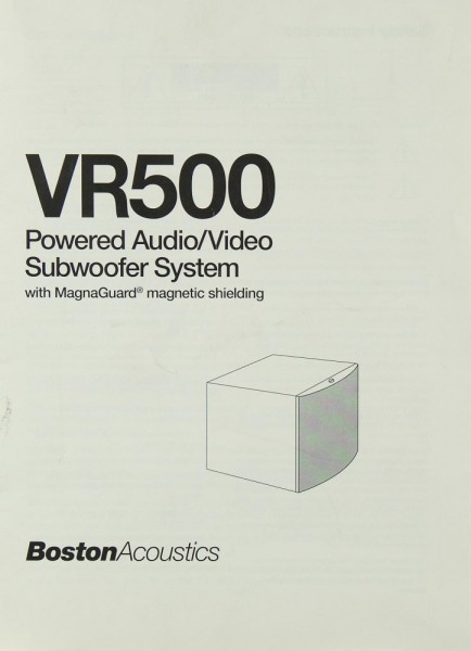 Boston Acoustics VR 500 Bedienungsanleitung