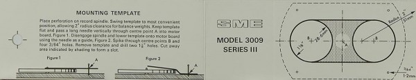 SME Model 3009 Series III - Mounting Template Justageschablone