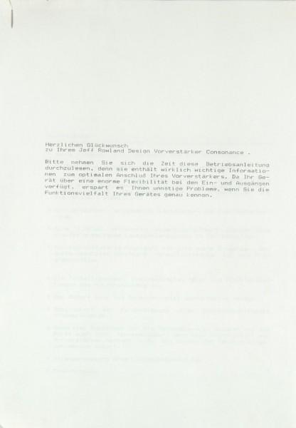 Jeff Rowland Consonance Bedienungsanleitung