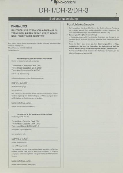 Nakamichi DR-1 / DR-2 / DR- 3 Bedienungsanleitung