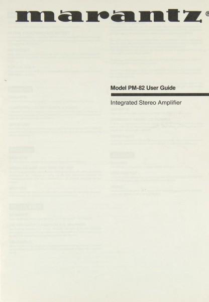 Marantz PM-82 Bedienungsanleitung