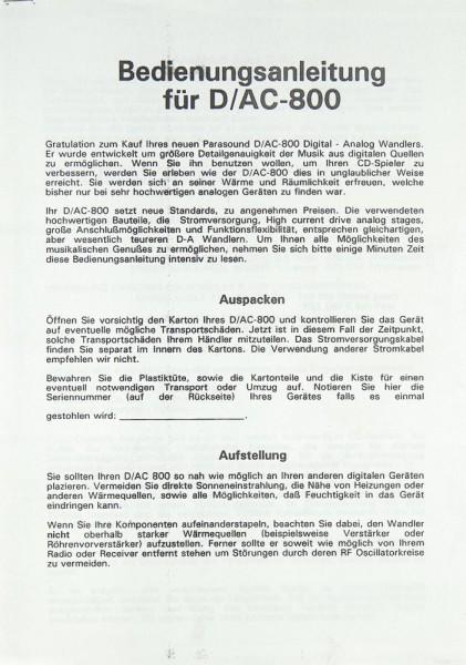 Parasound D-/AC-800 Bedienungsanleitung