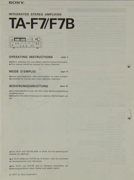 Sony TA-F 7 / F 7 B Bedienungsanleitung