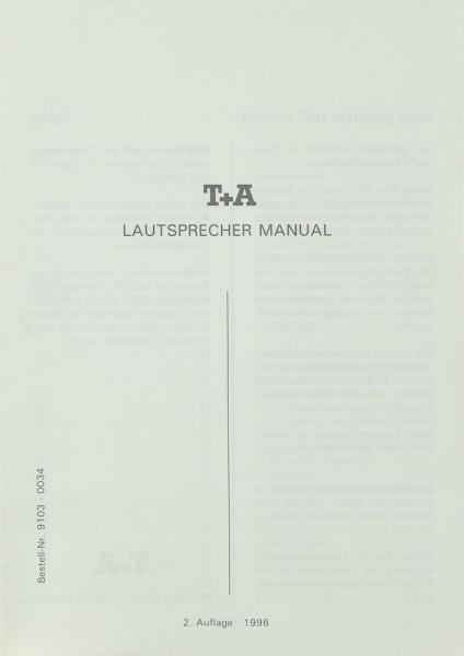 T + A Lautsprecher Manual (1996) Bedienungsanleitung