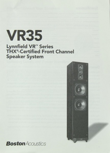 Boston Acoustics VR 35 Bedienungsanleitung