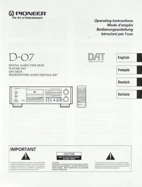Pioneer D-07 Bedienungsanleitung