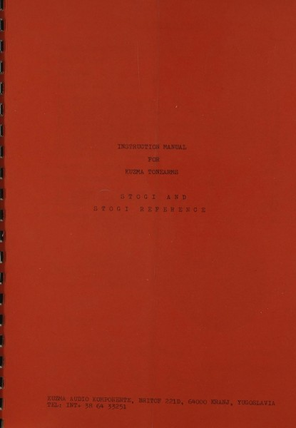 Kuzma Stogi / Stogi Reference Bedienungsanleitung