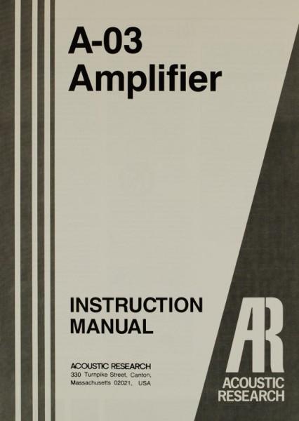 Acoustic Research A-03 Bedienungsanleitung