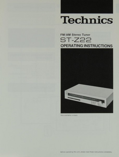 Technics ST-Z 22 Bedienungsanleitung