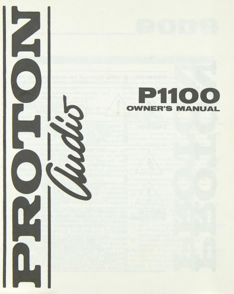 Proton Audio P 1100 Bedienungsanleitung