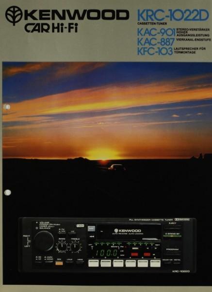Kenwood Car Hi-Fi KRC-1022D / KAC-901 / KAC-887 / KFC-103 Prospekt / Katalog