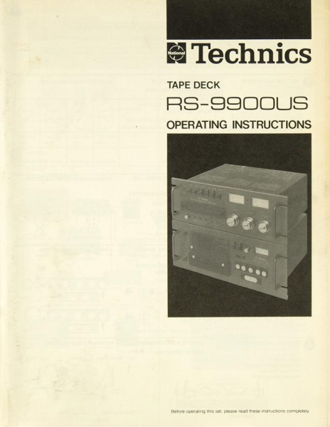 Technics RS-9900 US Bedienungsanleitung