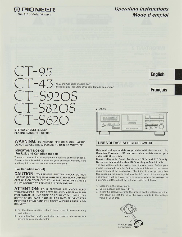 Pioneer CT-95 / CT-43 / CT-S 920 S / CT-S 820 S / CT-S 620 Manual