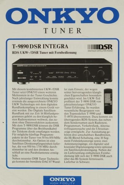 Onkyo T-9890 DSR Integra Prospekt / Katalog