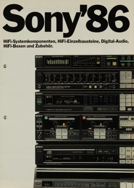 Sony Sony ´86 - HiFi-Systemkomponenten, Bausteine, etc. Prospekt / Katalog