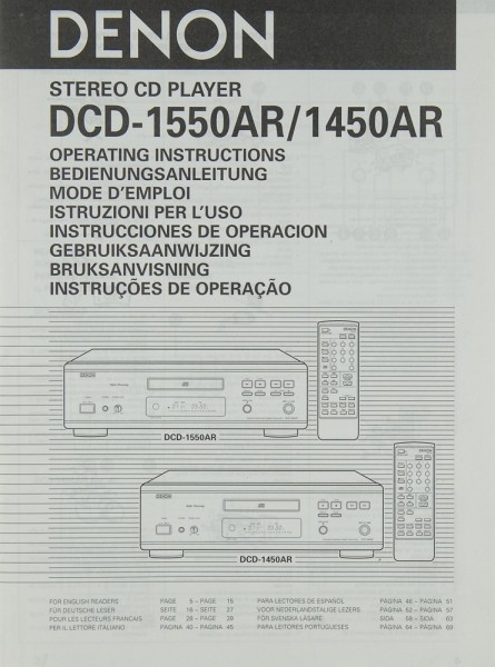 Denon DCD-1550 AR / 1450 AR Bedienungsanleitung