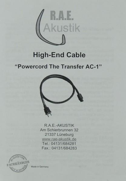 R.A.E. Akustik The Transfer AC-1 Prospekt / Katalog