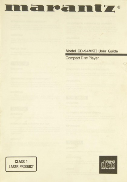 Marantz CD-94 MK II Bedienungsanleitung