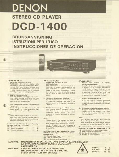 Denon DCD-1400 Bedienungsanleitung