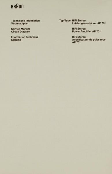 Braun AP 701 Schaltplan / Serviceunterlagen