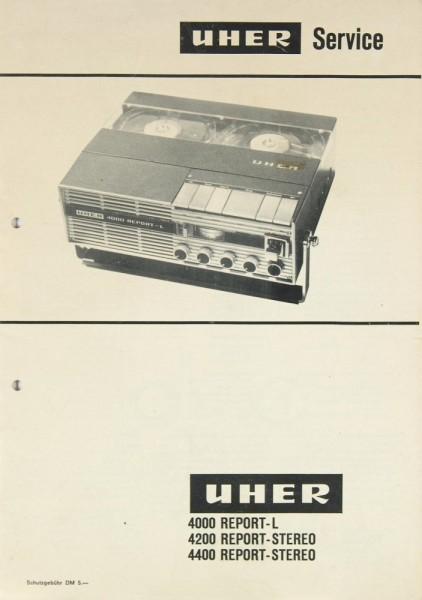 Uher 4000 Report-L / 4200 Report-Stereo / 4400 Rep.-St. Schaltplan / Serviceunterlagen
