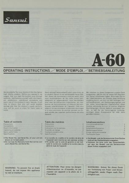Sansui A-60 Bedienungsanleitung