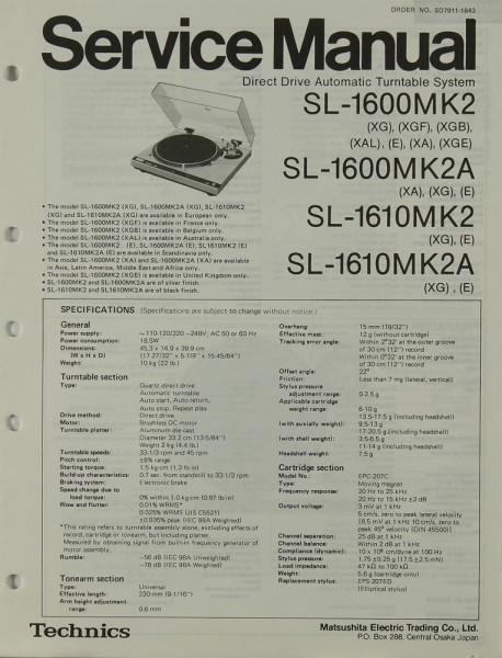 Technics SL-1600 MK2 / MK2A / SL-1610 MK2 / MK2A Schaltplan / Serviceunterlagen