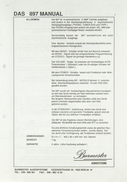 Burmester 897 Bedienungsanleitung