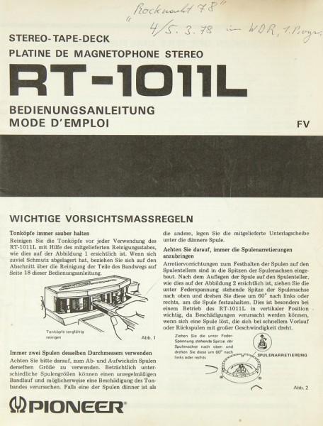 Pioneer RT-1011 L Bedienungsanleitung