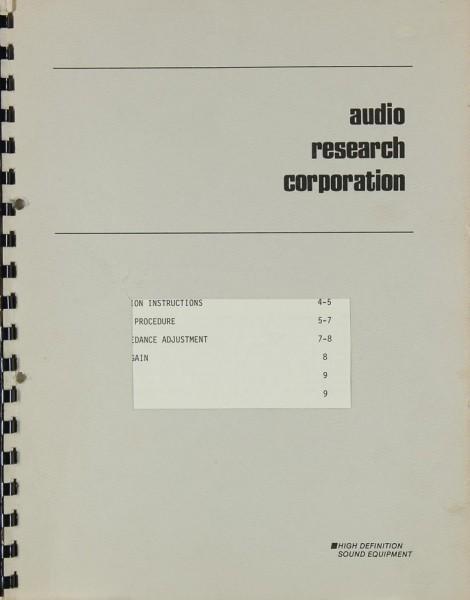 Audio Research SP 9 Bedienungsanleitung