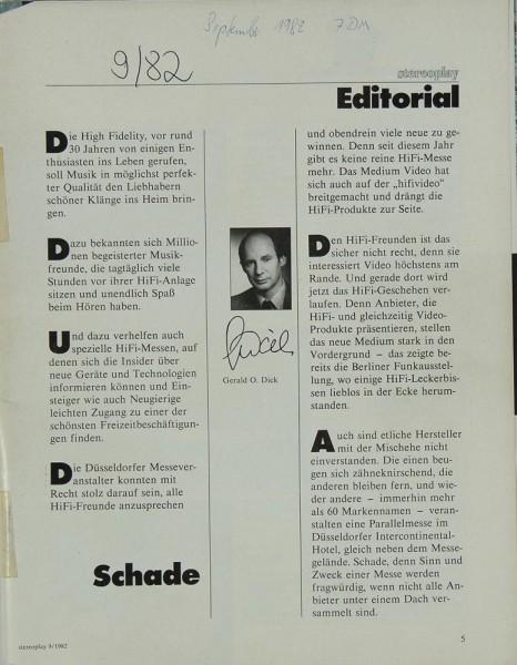 Stereoplay 9/1982 Zeitschrift