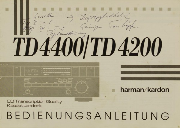 Harman / Kardon TD 4400 / TD 4200 Bedienungsanleitung