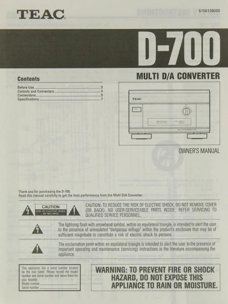 Teac D-700 Bedienungsanleitung