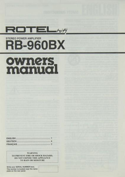 Rotel RB-960 BX Bedienungsanleitung