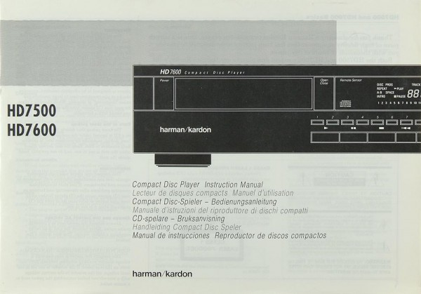 Harman / Kardon HD 7500 / HD 7600 Bedienungsanleitung
